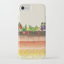 Earth soil layers vegetables garden cute educational illustration kitchen decor print iPhone Case