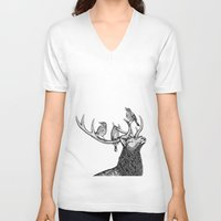 river song V-neck T-shirts featuring Song by Natalie Toms Illustration