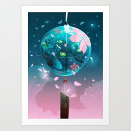 Japanese glass wind bell Art Print