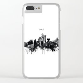 Dallas TexasBlack White Skyline Poster Clear iPhone Case
