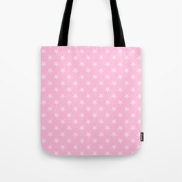 Pink Lace Pink on Cotton Candy Pink Stars Tote Bag