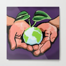 Care For Environment graphic Metal Print