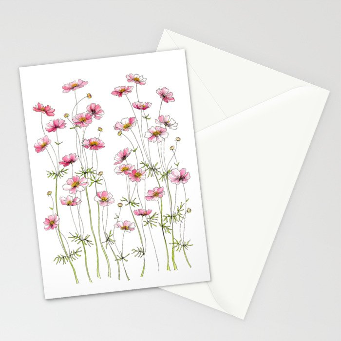 Pink Cosmos Flowers Stationery Cards