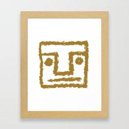 Minimalist Brush Stroke Face 003 Framed Art Print
