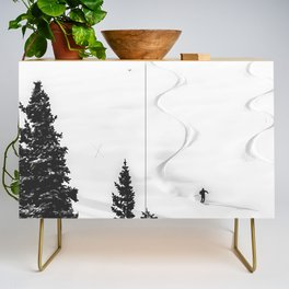 Backcountry Skier // Fresh Powder Snow Mountain Ski Landscape Black and White Photography Vibes Credenza