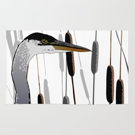 Great Blue Heron - White Background Rug