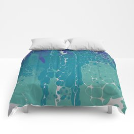 Blue Green and White Cells Comforters