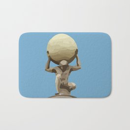 light blue Man with Big Ball Illustration Bath Mat