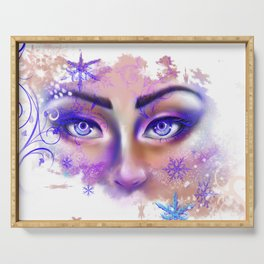 snow beautiful winter snowflakes eyes girl Serving Tray