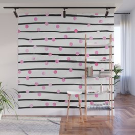 Blush pink black watercolor modern stripes polka dots Wall Mural