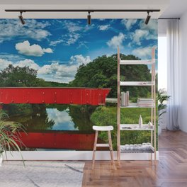 Madison Country, Iowa - Red Covered Bridge Wall Mural