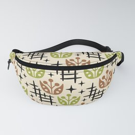 Mid Century Modern Space Flower Pattern Brown and Chartreuse Fanny Pack