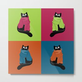 cats in scarves Metal Print