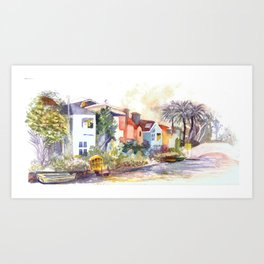 Venice Canals in California Art Print