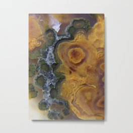 Green and Orange Macro Agate Pattern Metal Print