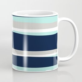 Ocean, Stripe Abstract Pattern, Navy, Aqua, Gray Coffee Mug