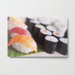 Close-up of various Japanese sushi, shallow depth of field Metal Print