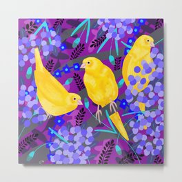 Canaries on Purple Metal Print