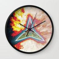 big bang Wall Clocks featuring Big Bang by Helle Gade