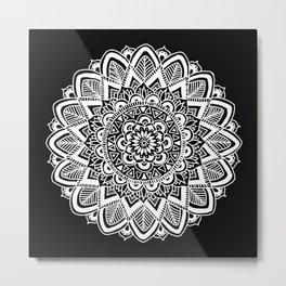 Black and White Boho Mandala Metal Print