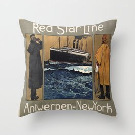 Vintage poster - Red Star Line Throw Pillow
