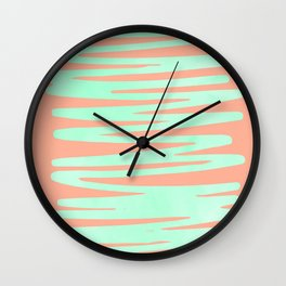Sweet Life Soft Serve Peach Coral + Mint Meringue Wall Clock