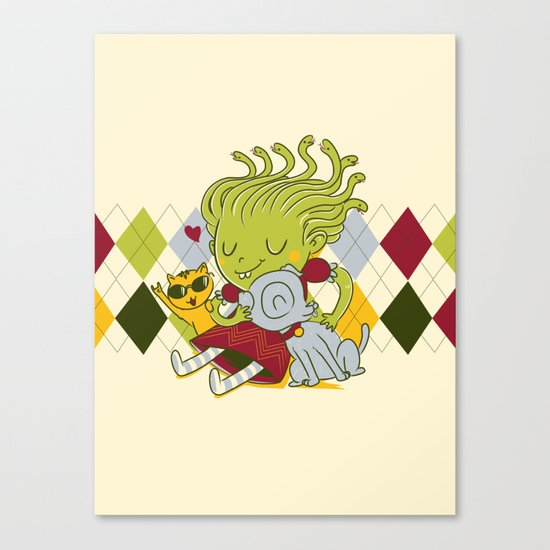 Medusa had a pet rock. Canvas Print