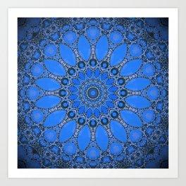 Bohemian Blue Mandala Design Art Print