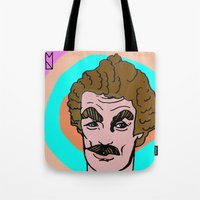 tom selleck Tote Bags featuring Tom Selleck by Mary Naylor