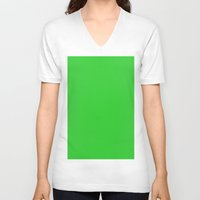 lime green V-neck T-shirts featuring Lime green by List of colors