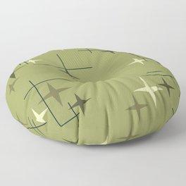 Mid Century Modern Stars Olive Green Floor Pillow