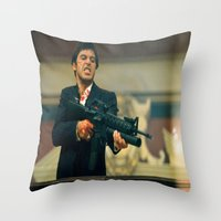 scarface Throw Pillows featuring SCARFACE by I Love Decor