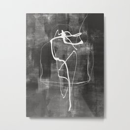 Black abstract with white lines Metal Print