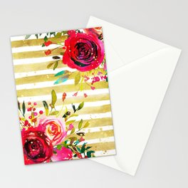 Flowers & Stripes 2 Stationery Cards