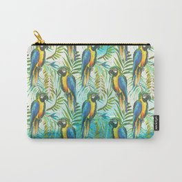 Watercolor blue yellow tropical parrot bird floral Carry-All Pouch