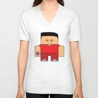 power rangers V-neck T-shirts featuring Mighty Morphin Power Rangers - Jason (The Original Red Ranger) by Choo Koon Designs