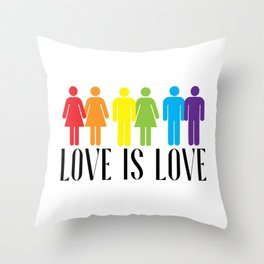 LGBT PRIDE MONTH PARADE product - LOVE IS LOVE print Throw Pillow
