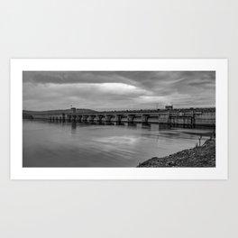 Table Rock Lake Dam Monochrome Panorama Art Print