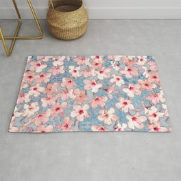 Shabby Chic Hibiscus Patchwork Pattern in Pink & Blue Rug