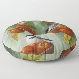 Chickadees and Apple Tree Harvest Floor Pillow
