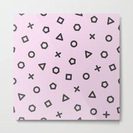 Pastel Pink Memphis Pattern Metal Print