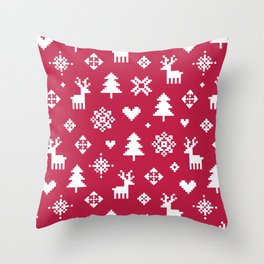 WINTER FOREST RED - PIXEL PATTERN Throw Pillow