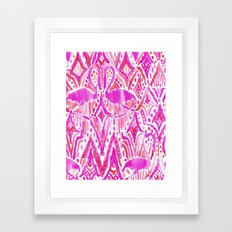 HEY FLAMINGO Pink Watercolor Tribal Framed Art Print