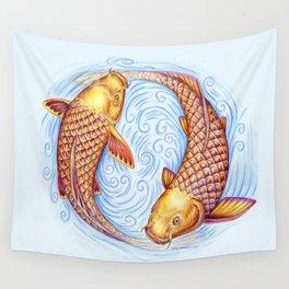 Pisces Fish Yin Yang Mandala Wall Tapestry