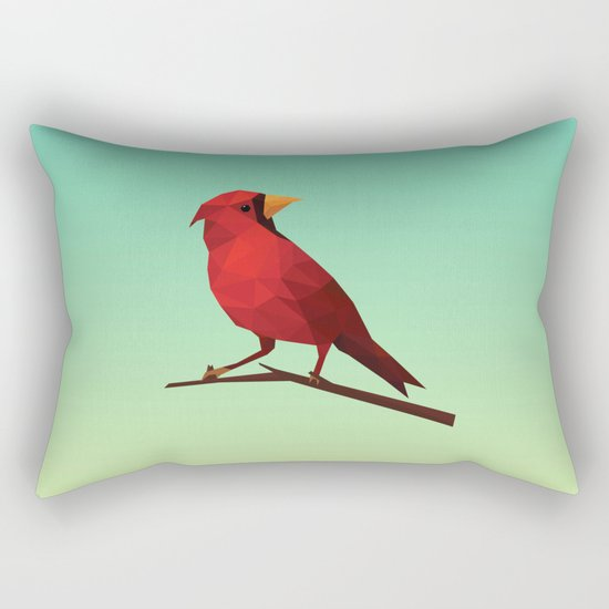 Low-poly Red Bird Rectangular Pillow