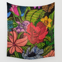 FLOWER JUNGLE Wall Tapestry