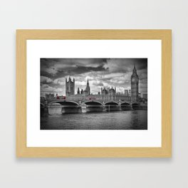 LONDON Houses of Parliament & Red Buses Framed Art Print