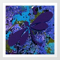 dragonfly Art Prints featuring Dragonfly  by Saundra Myles