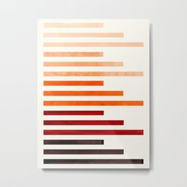 Brown Minimalist Abstract Mid Century Modern Staggered Thin Stripes Watercolor Painting Metal Print