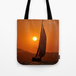 sailboat in sunset Tote Bag